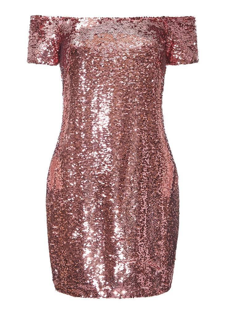 AIDAN Off The Shoulder Sequin Dress