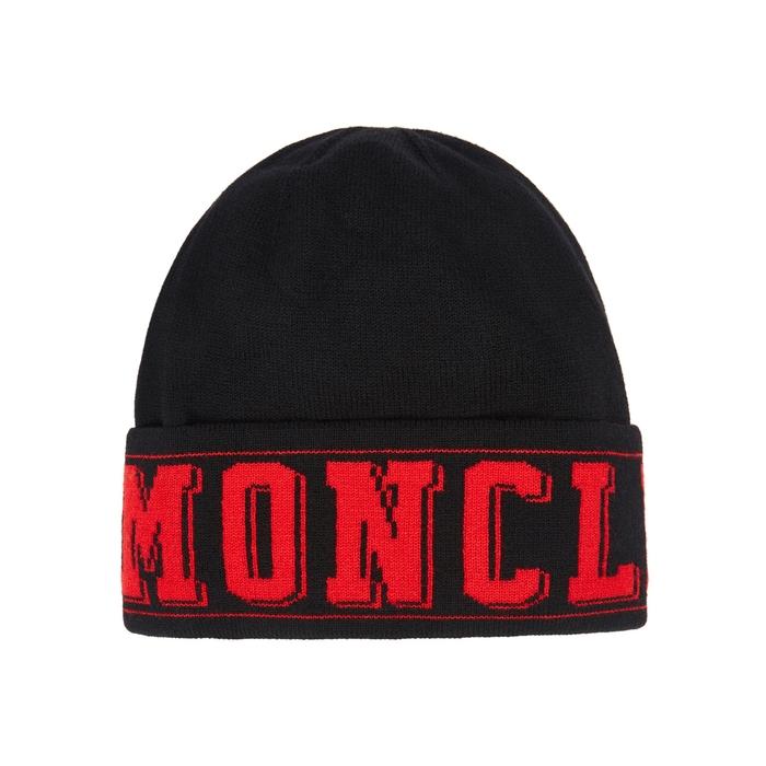 Moncler Black Logo-intarsia Wool-blend Beanie