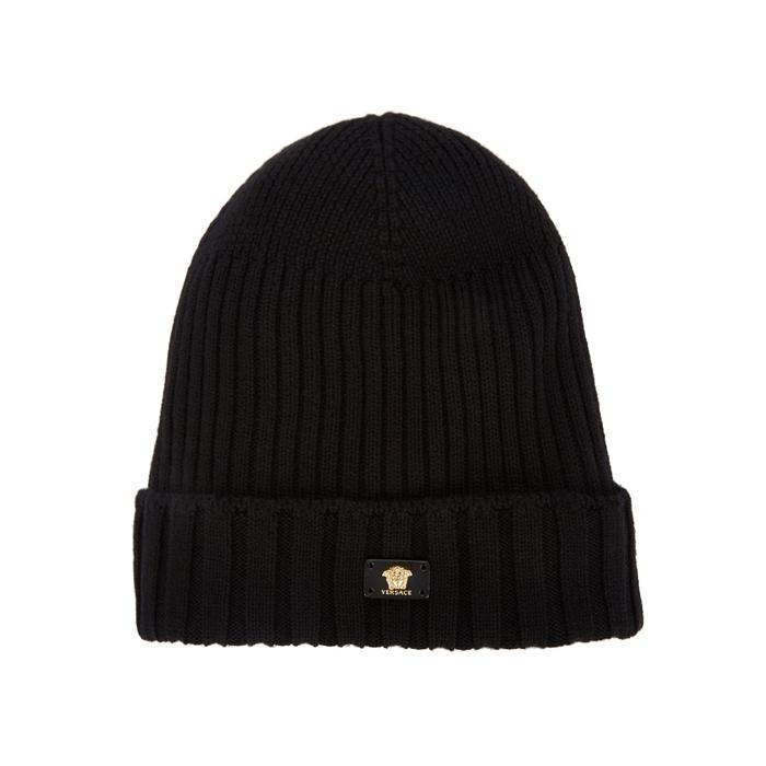 Versace Black Ribbed Wool Beanie