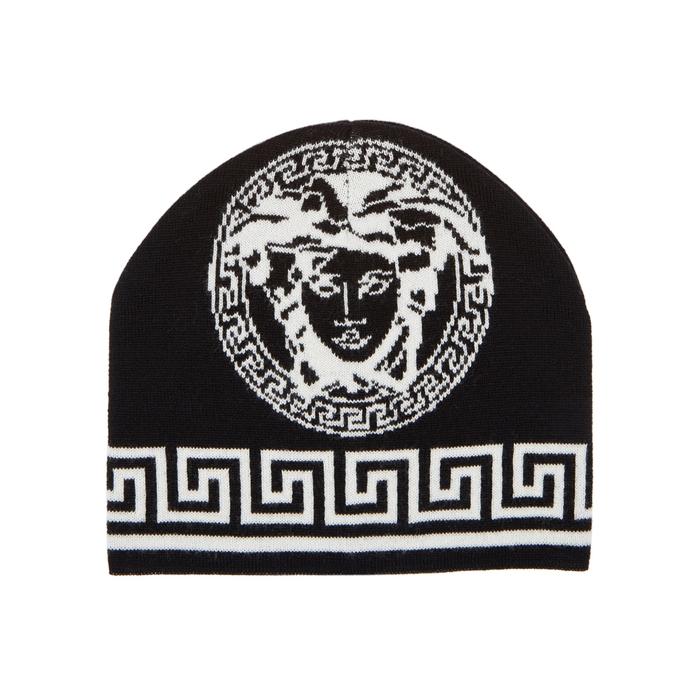 Versace Black Medusa Wool Beanie