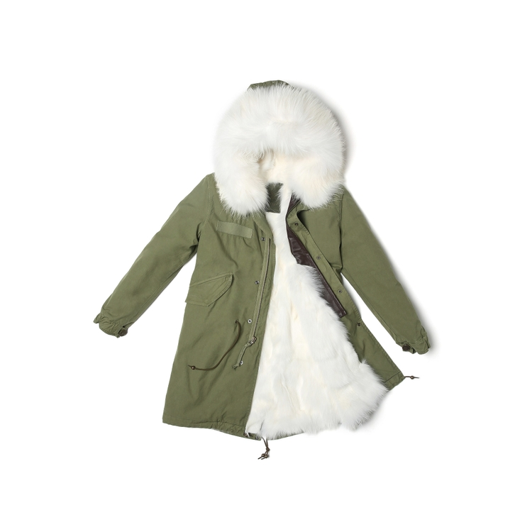 Mr & Mrs Italy ARMY PARKA PATCH FOX FUR