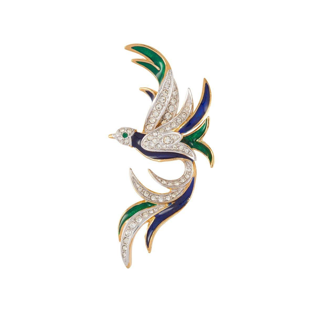 SUSAN CAPLAN VINTAGE 1970S ATTWOOD & SAWYER SWAROVSKI CRYSTAL BIRD BROOCH