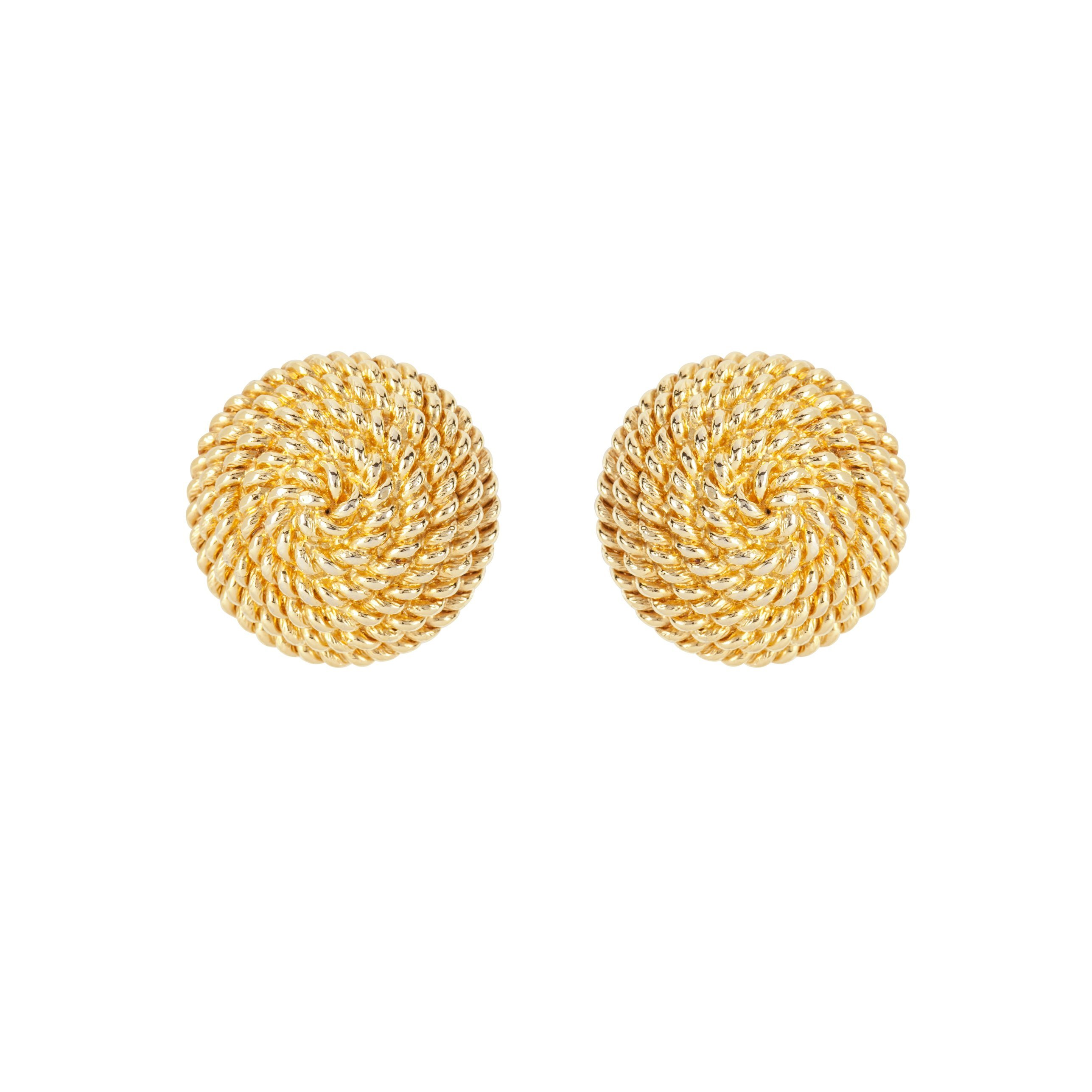 1980S VINTAGE MONET DAINTY WOVEN ROUND EARRINGS
