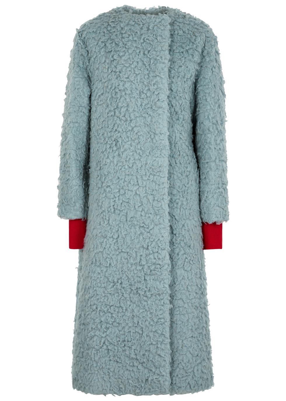 Edine Camel Wool And Silk Coat, Blue