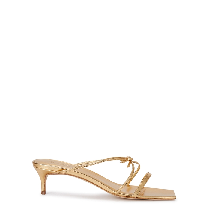 By Far  JANUARY 50 GOLD LEATHER SANDALS