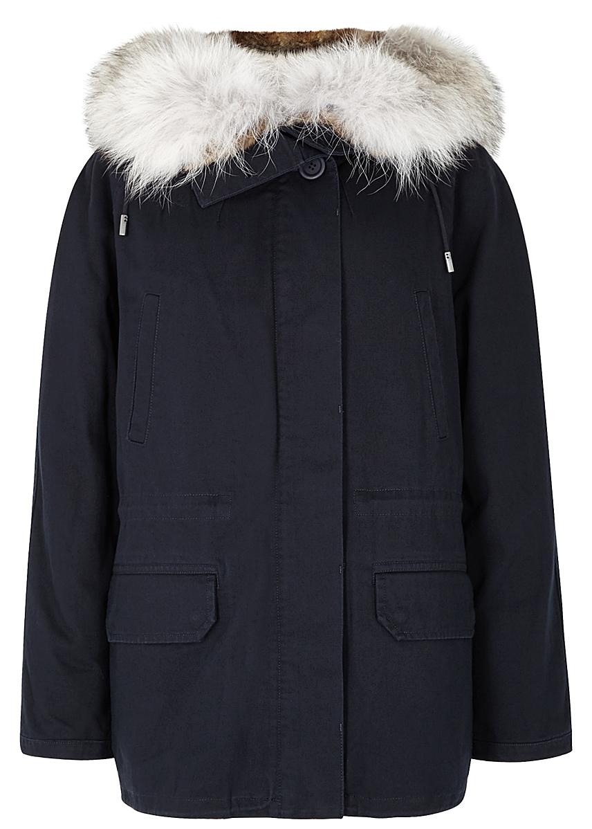 020552f3 Yves Salomon. Navy fur-lined ...
