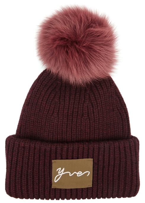 5ee6d655a6b ... uk availability 3495c b8860 Fur pompom wool-blend beanie - Yves Salomon  ...