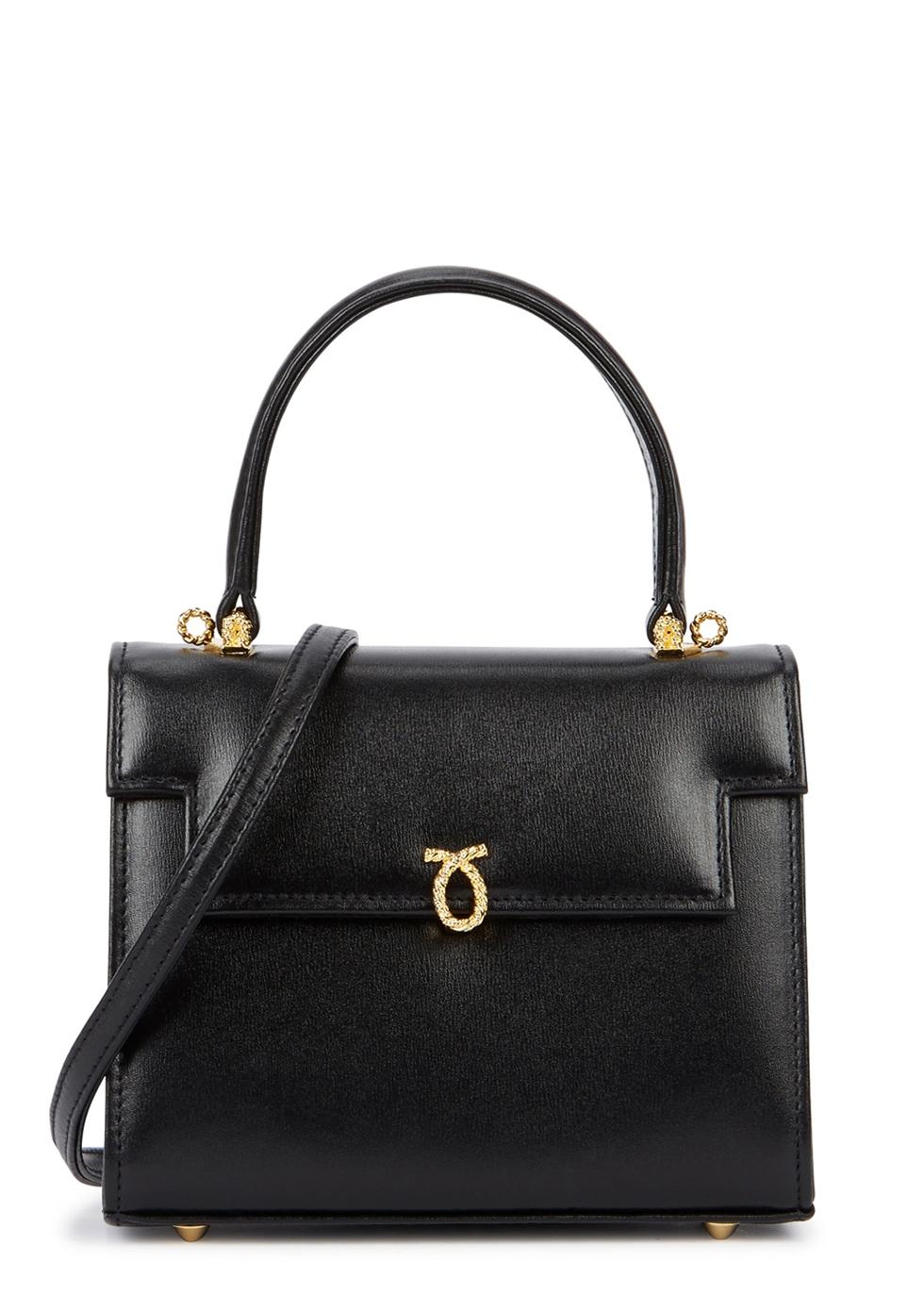LAUNER Viola Black Leather Shoulder Bag