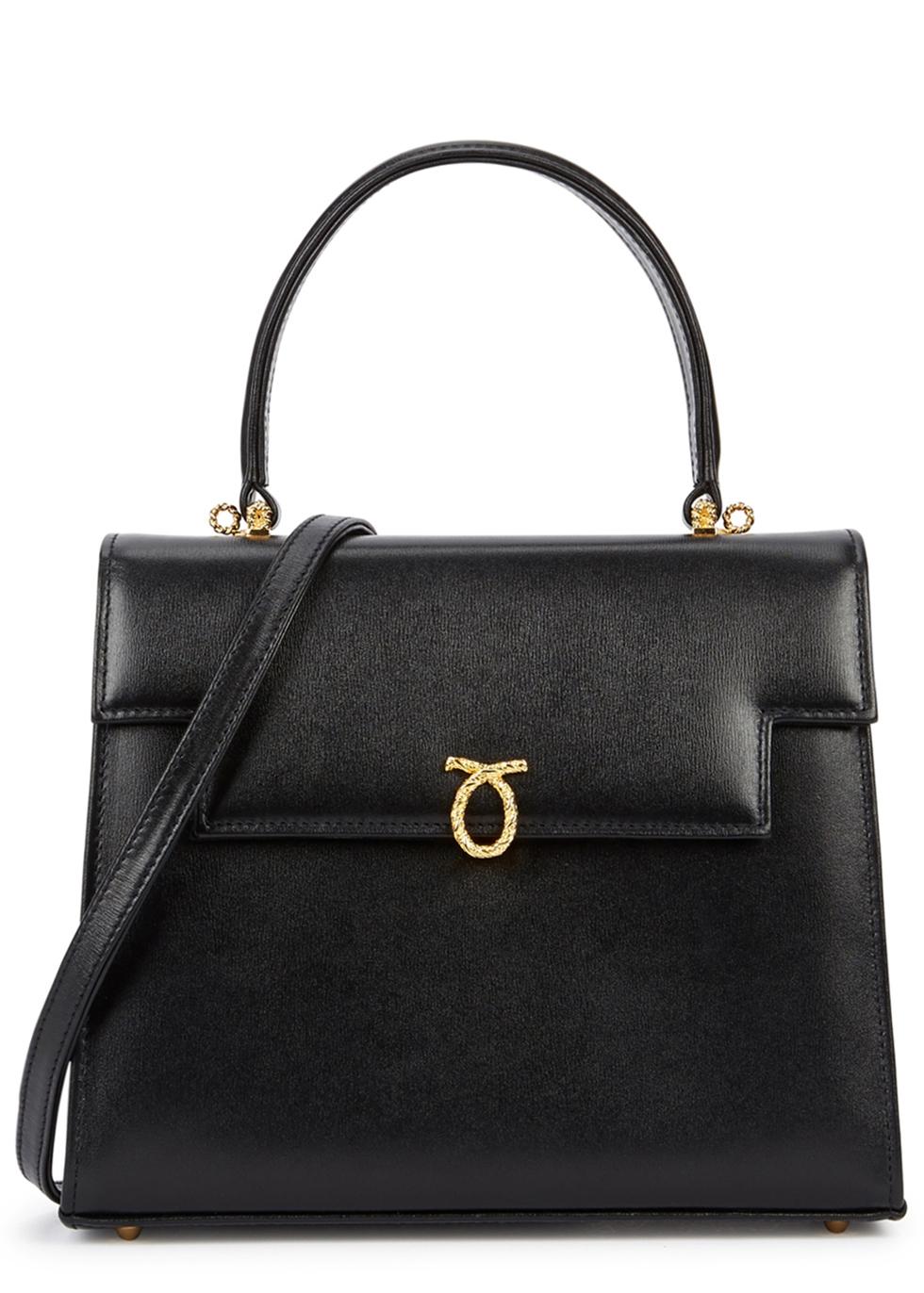 LAUNER Traviata Black Leather Shoulder Bag