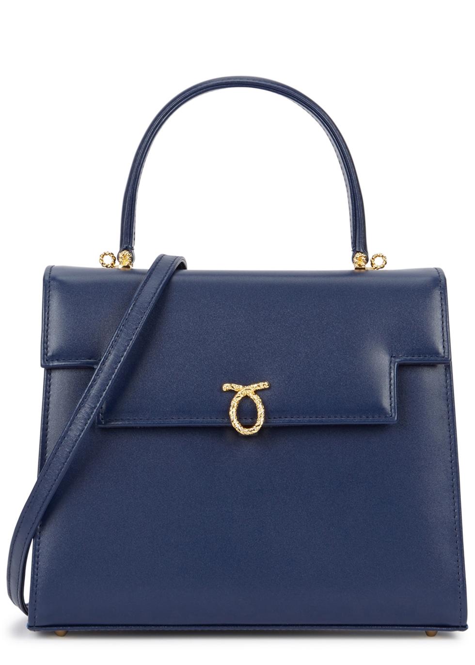 LAUNER Traviata Navy Leather Shoulder Bag