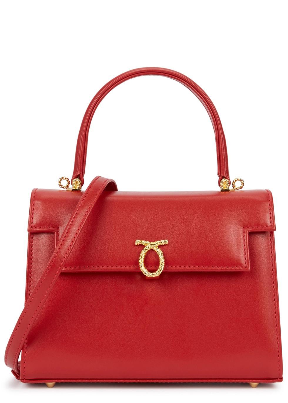 LAUNER Viola Red Leather Shoulder Bag