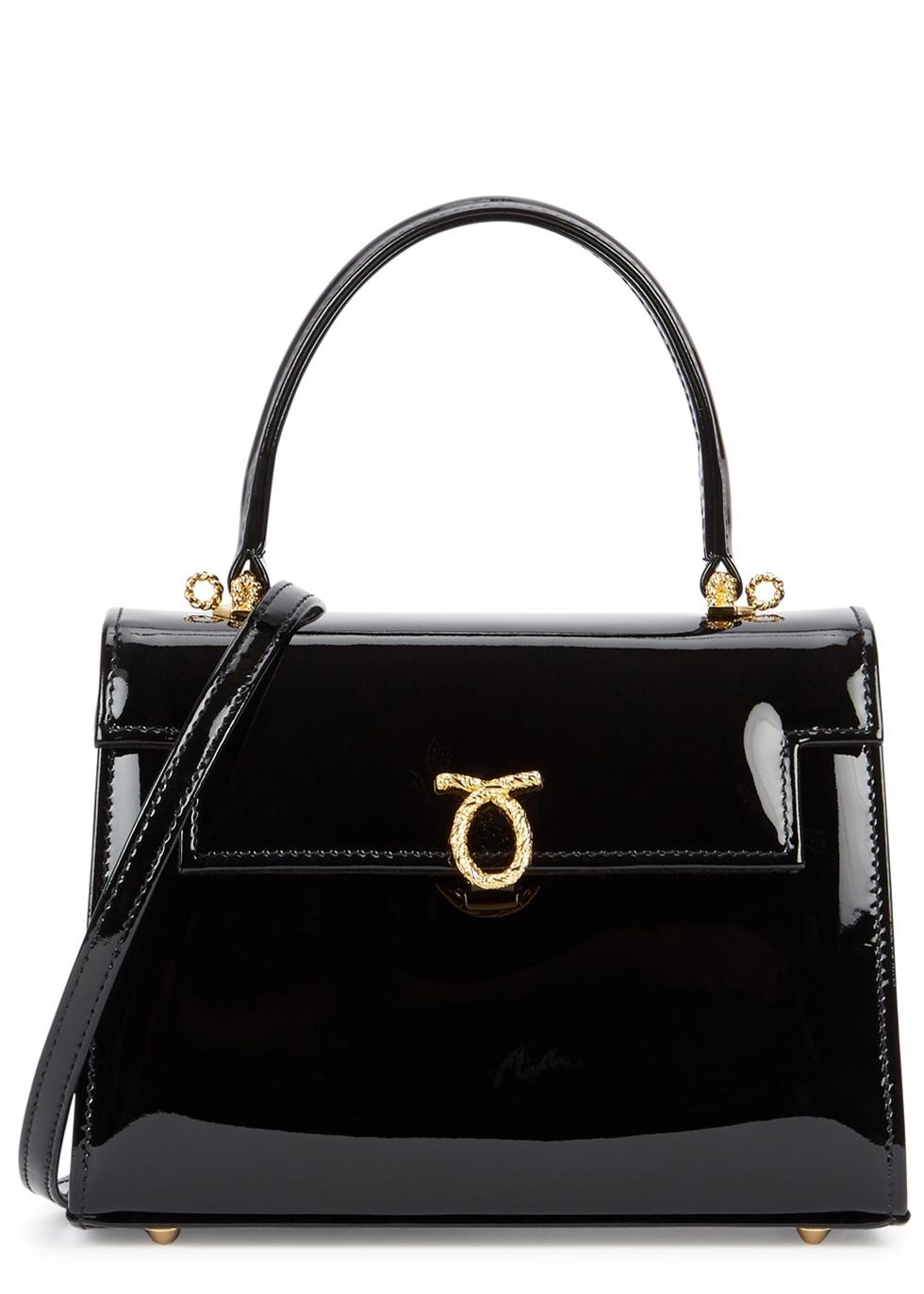 LAUNER Judi Black Patent Leather Shoulder Bag