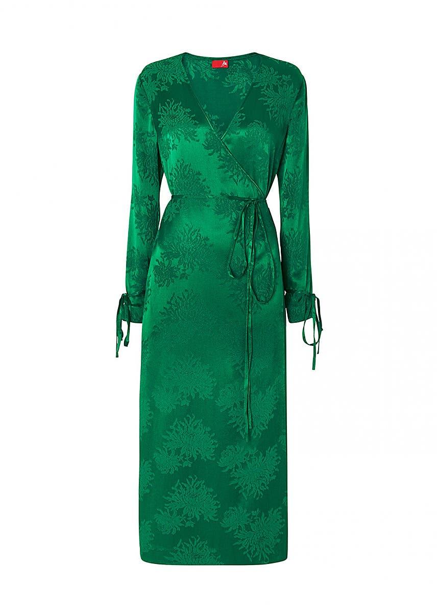 9fdbbf9806def7 Odile green wrap dress ...