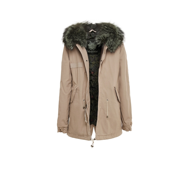Mr & Mrs Italy STONE LIGHT KAKY PARKA MIDI CANVAS QUILT FOX FUR
