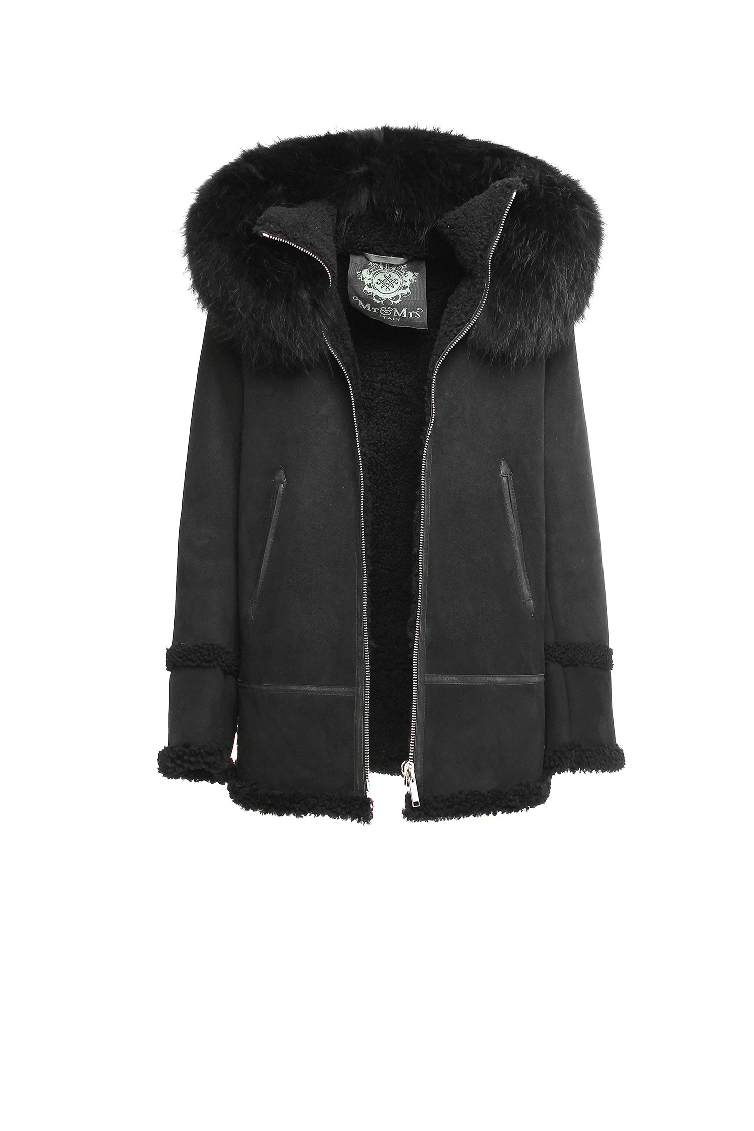SHEARLING LONG JACKET SHEARLING RACCOON FUR