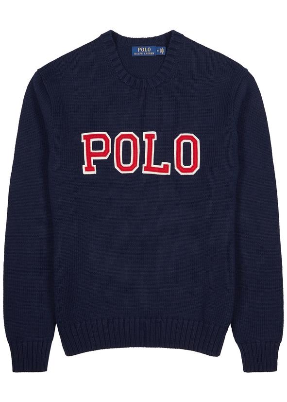 Navy appliquéd cotton jumper Navy appliquéd cotton jumper. New Season. Polo  Ralph Lauren. Navy appliquéd cotton jumper a9622fe4706