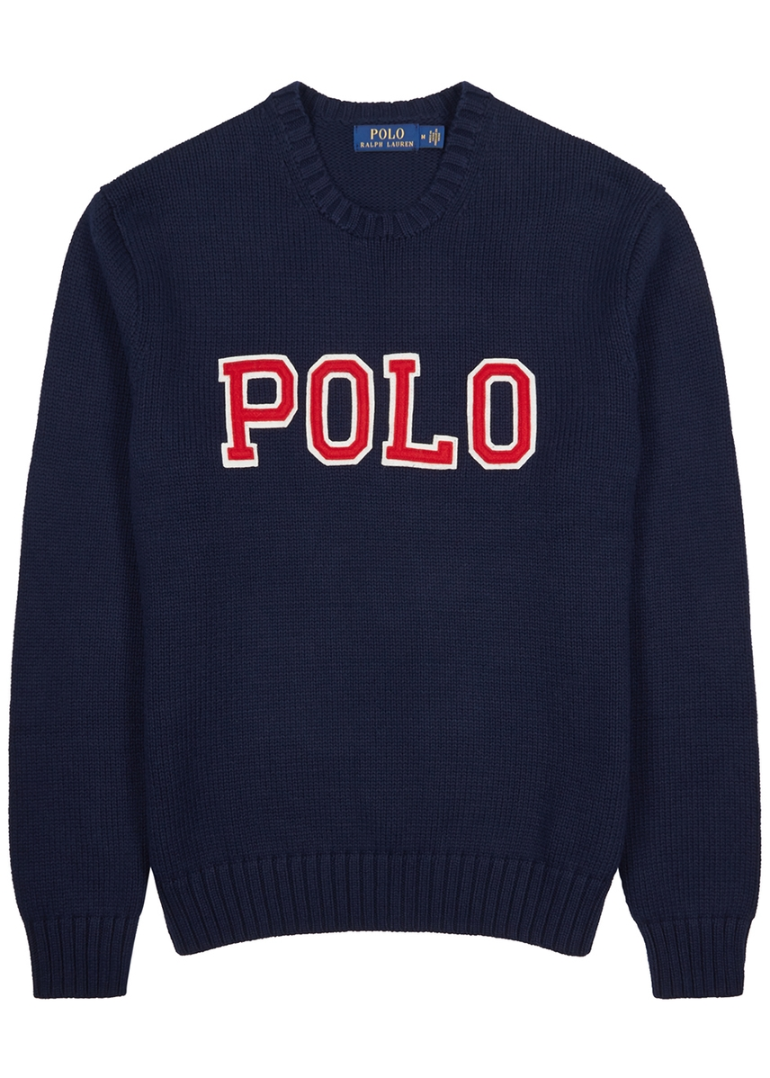 c576503dd0c Navy appliquéd cotton jumper Navy appliquéd cotton jumper. Polo Ralph Lauren