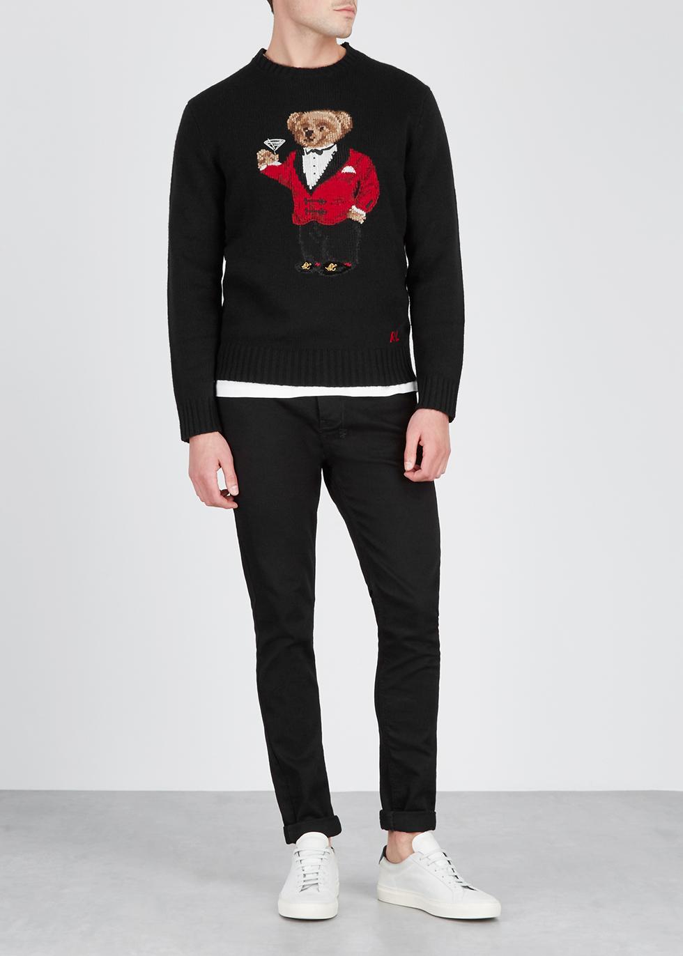 Polo Lauren Bear Intarsia Jumper Black Ralph Nichols Wool Harvey 3ALR54j