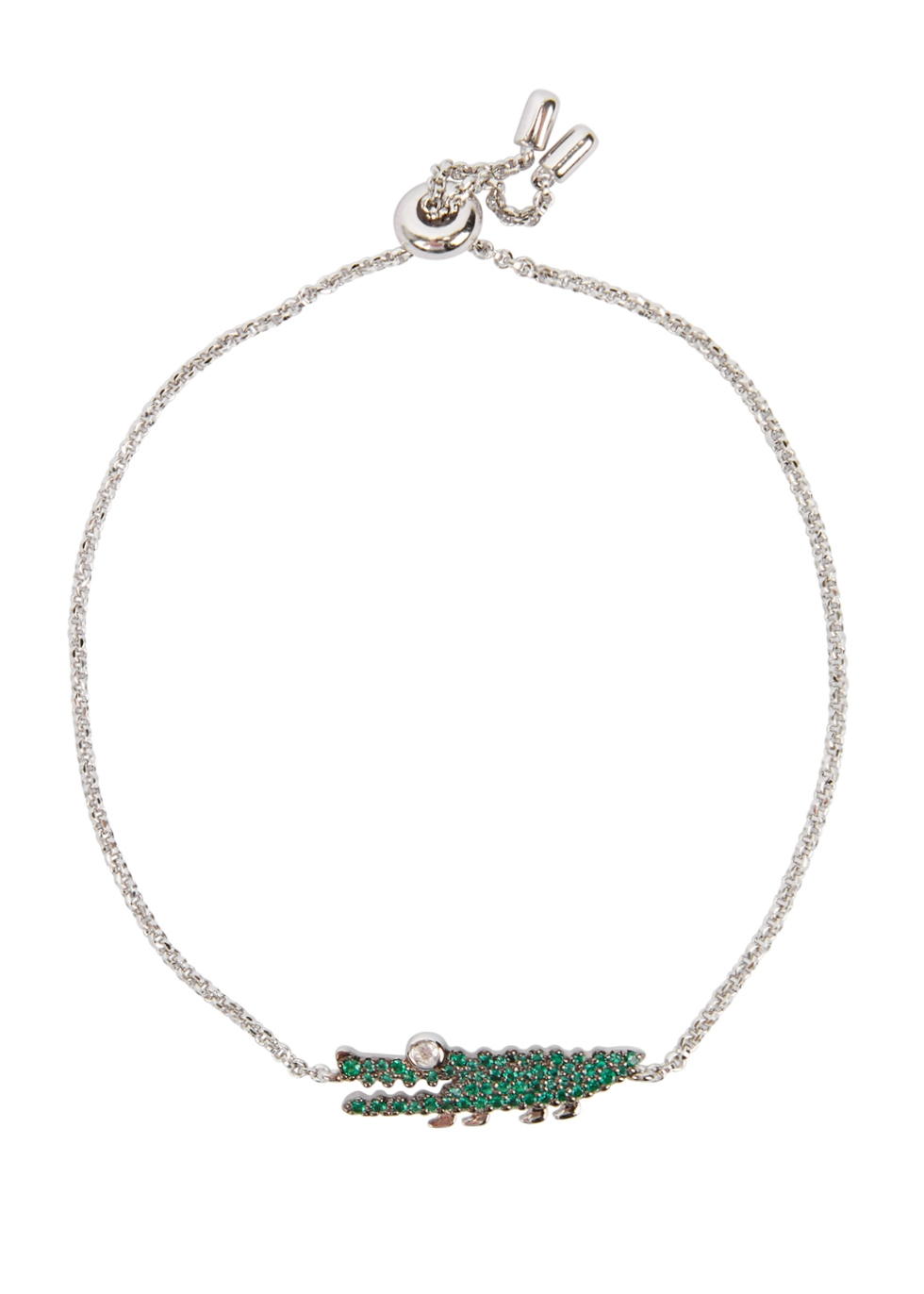 APM MONACO Crystal-Embellished Sterling Silver Bracelet in Green