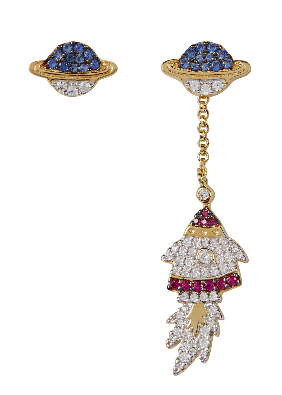 APM MONACO Asymmetric Crystal-Embellished Earrings in Multicoloured