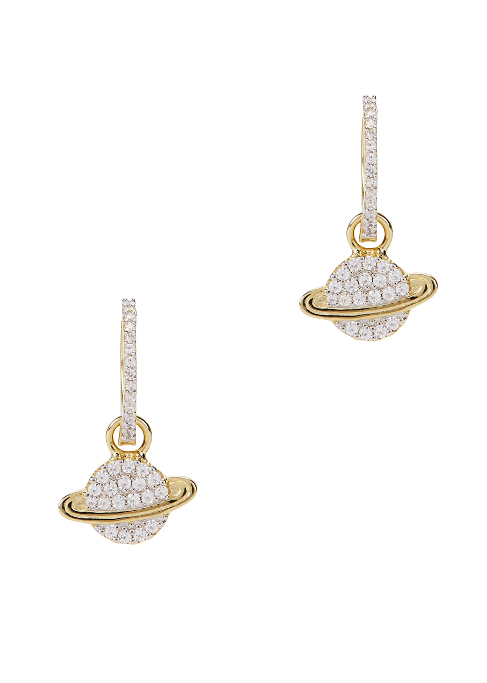 APM MONACO Planet Crystal-Embellished Hoop Earrings in Gold