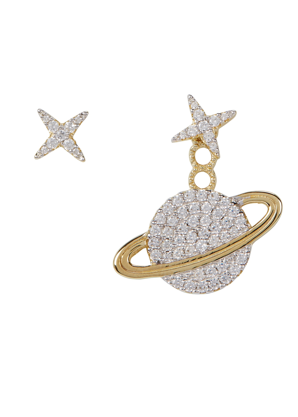 APM MONACO Asymmetric Star Crystal-Embellished Earrings in Gold