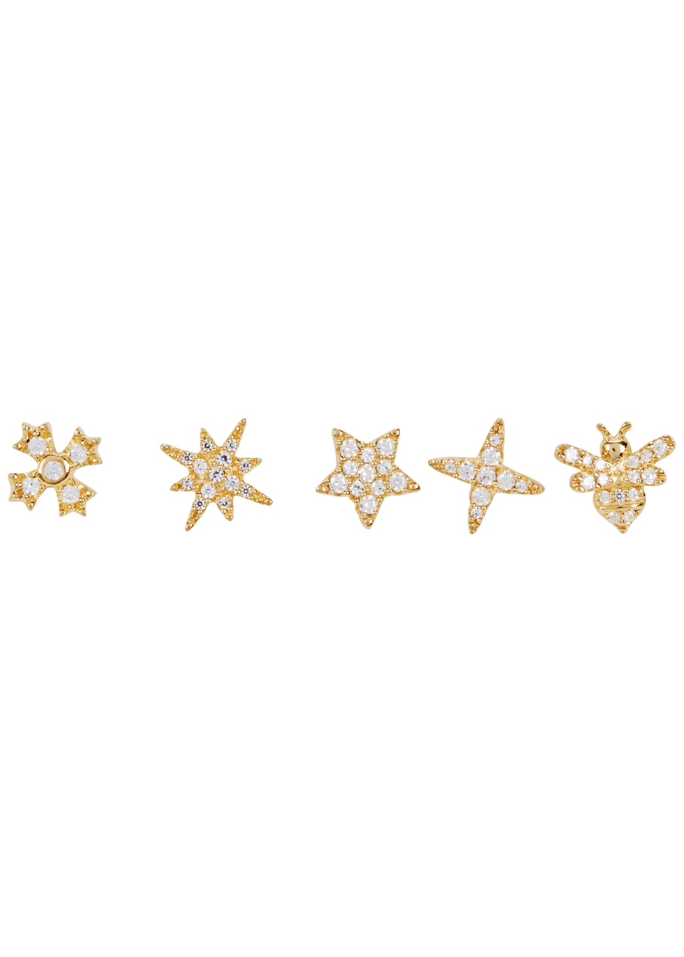 APM MONACO Mismatch Sterling Silver Stud Earrings Set in Gold