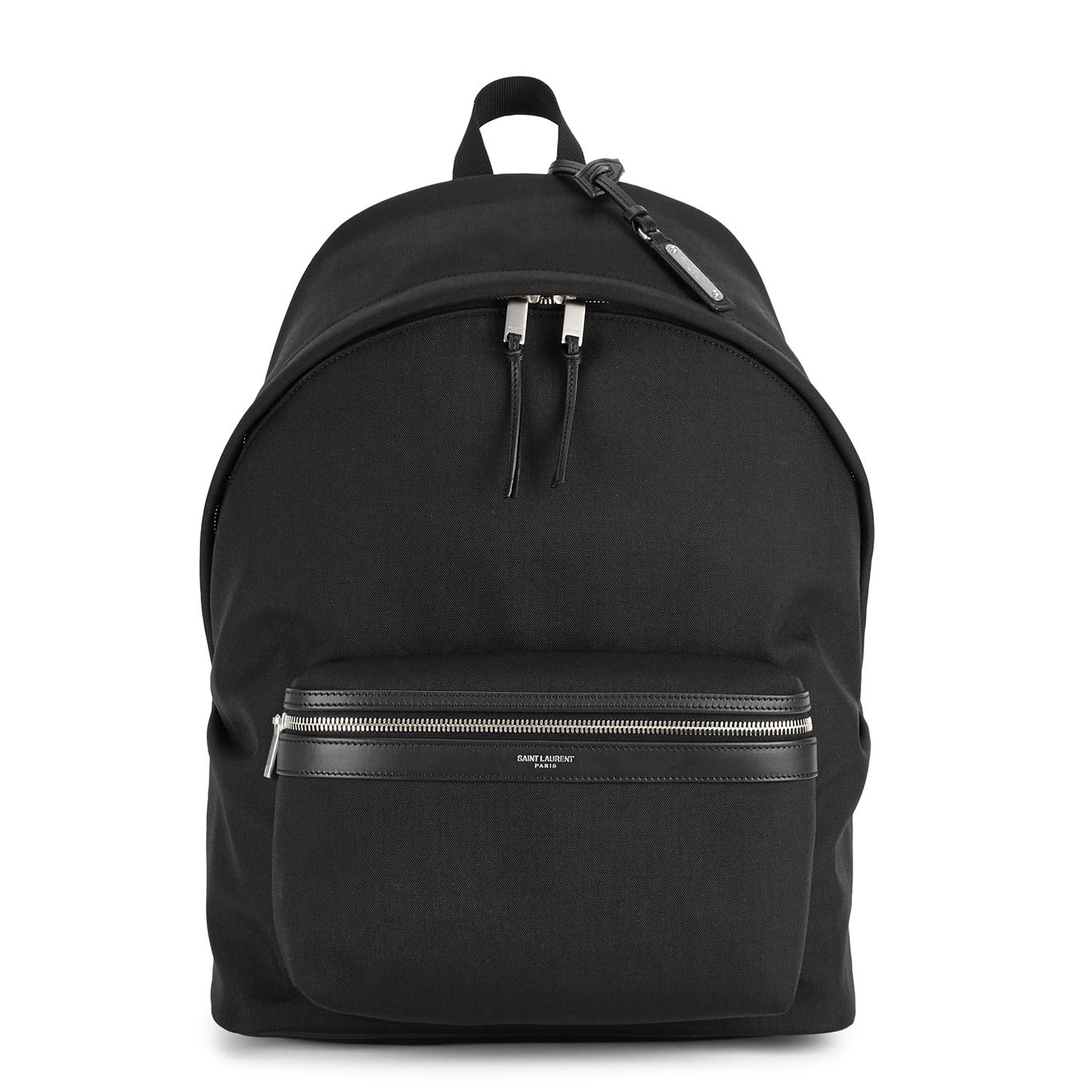 Saint Laurent Black leather-trimmed canvas backpack - Harvey Nichols aec1bb729cb