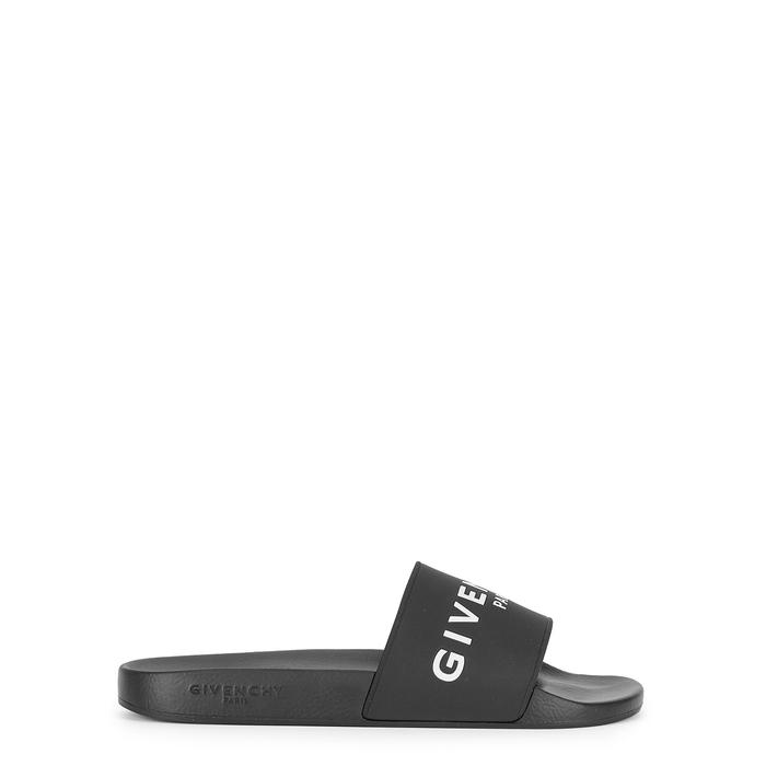 Givenchy Black Logo Rubber Sliders