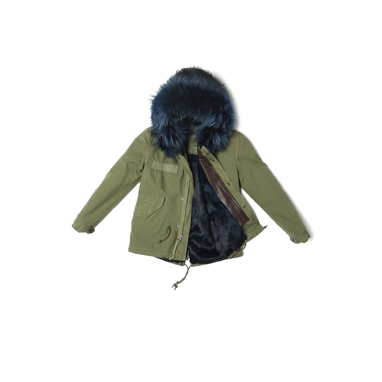 Mr & Mrs Italy ARMY MINI PARKA RABBIT RACCOON FUR