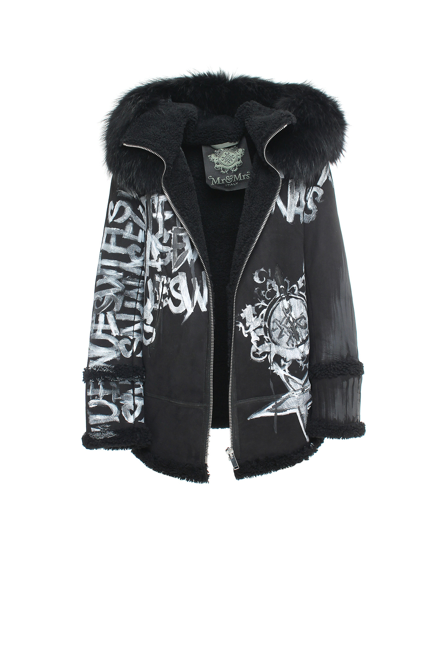 EMBROIDERY SHEARLING LONG JACKET SHEARLING RACCOON FUR