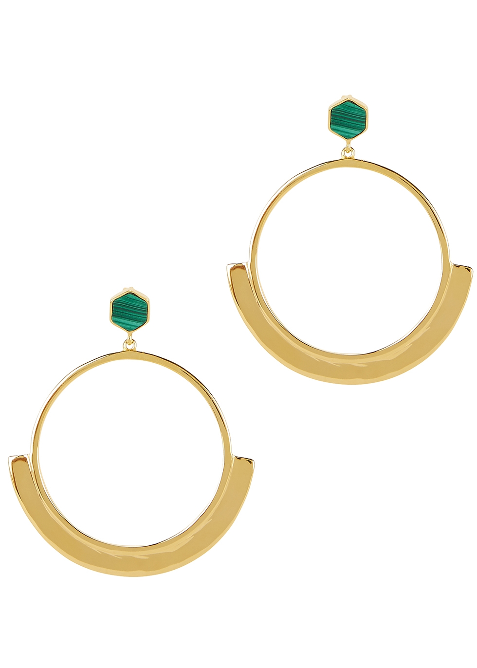 MISSOMA Hex 18Kt Gold Vermeil Hoop Earrings in Green