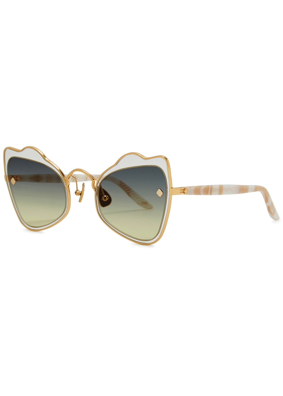 MOY ATELIER Odyssey 18Ct Gold-Plated Sunglasses in Green
