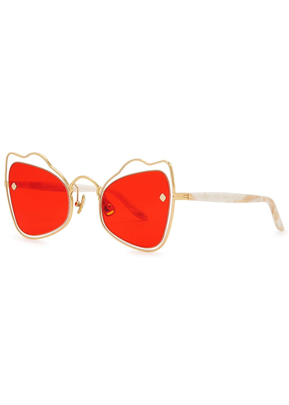 MOY ATELIER Odyssey 18Ct Gold-Plated Sunglasses in Red