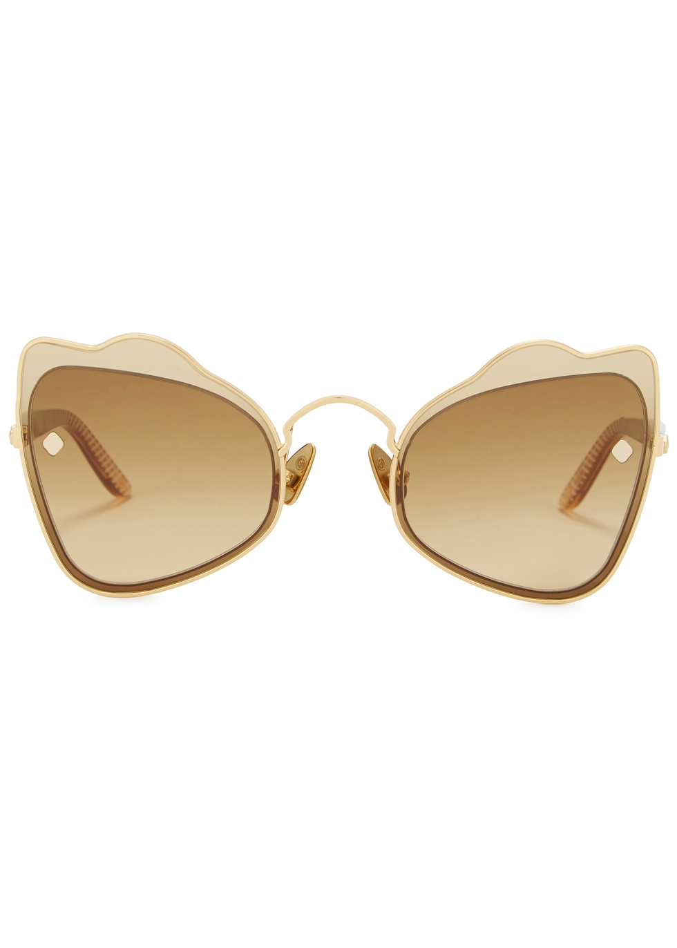 MOY ATELIER Odyssey 18Ct Gold-Plated Sunglasses in Brown