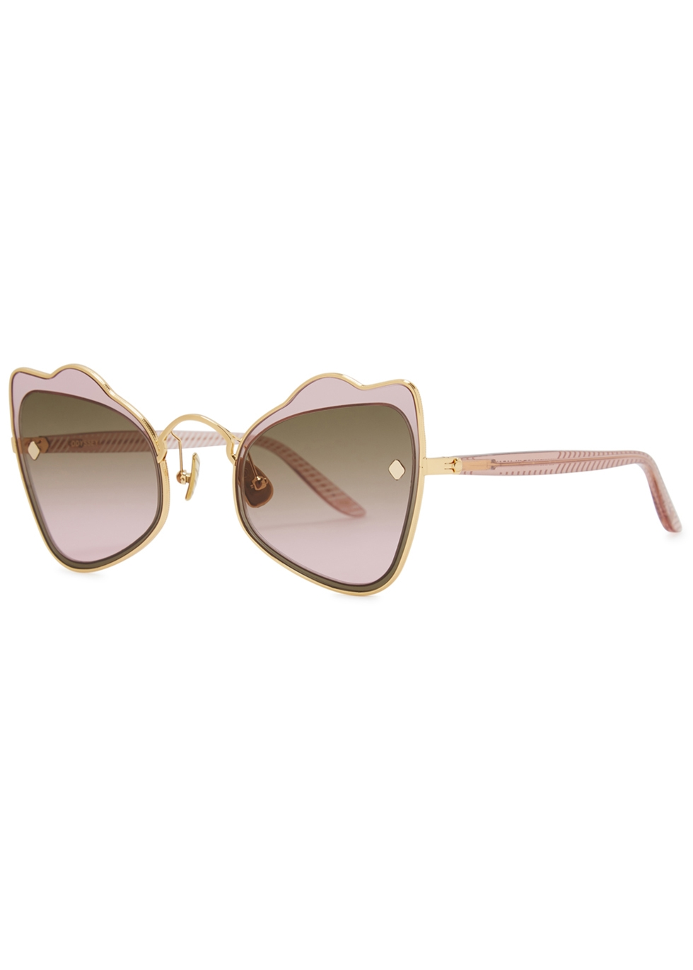 MOY ATELIER Odyssey 18Ct Gold-Plated Sunglasses in Pink
