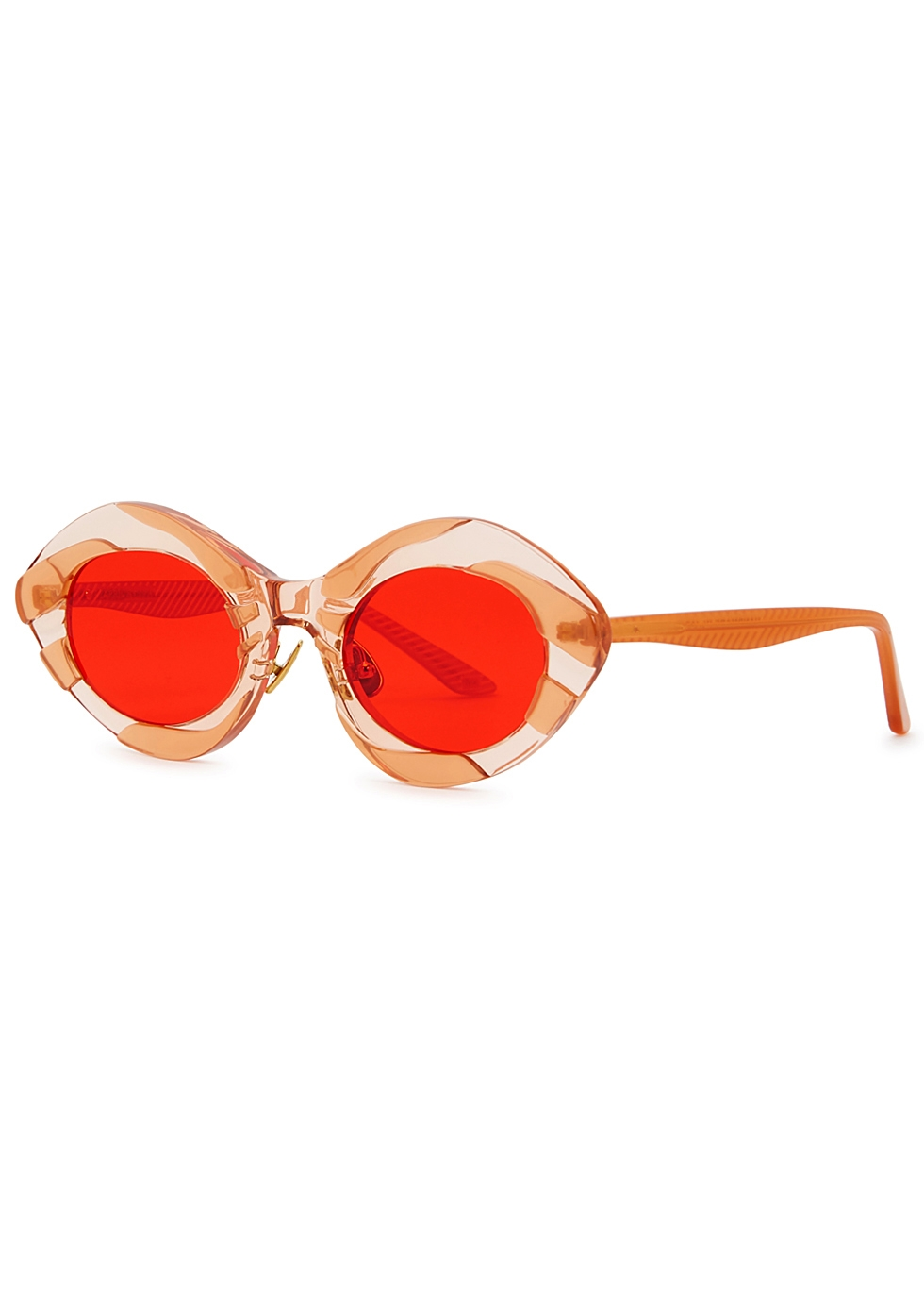MOY ATELIER April Nymph Oval-Frame Sunglasses in Red