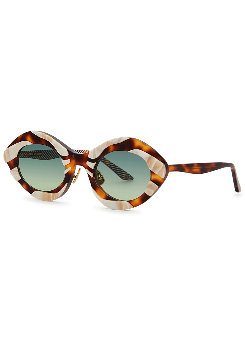 MOY ATELIER April Nymph Oval-Frame Sunglasses in Tortoise