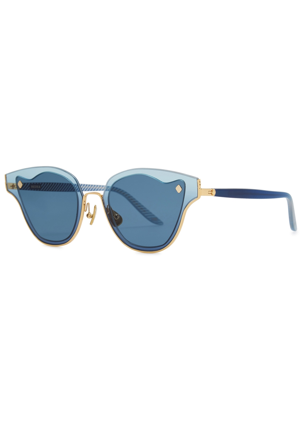 MOY ATELIER Medea 18Ct Gold-Plated Sunglasses in Blue
