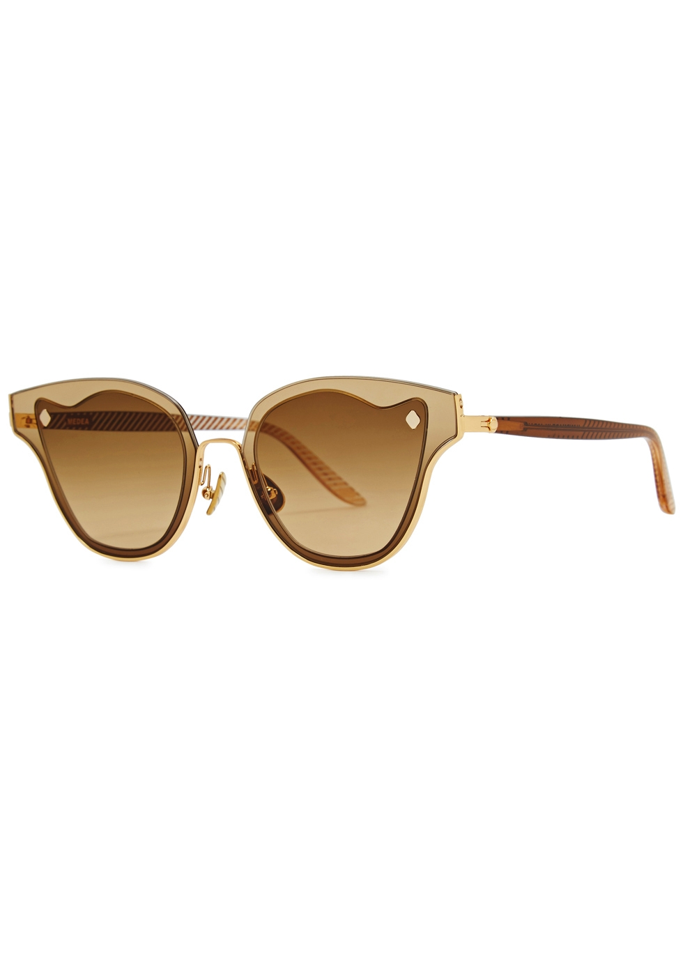 MOY ATELIER Medea 18Ct Gold-Plated Sunglasses in Brown