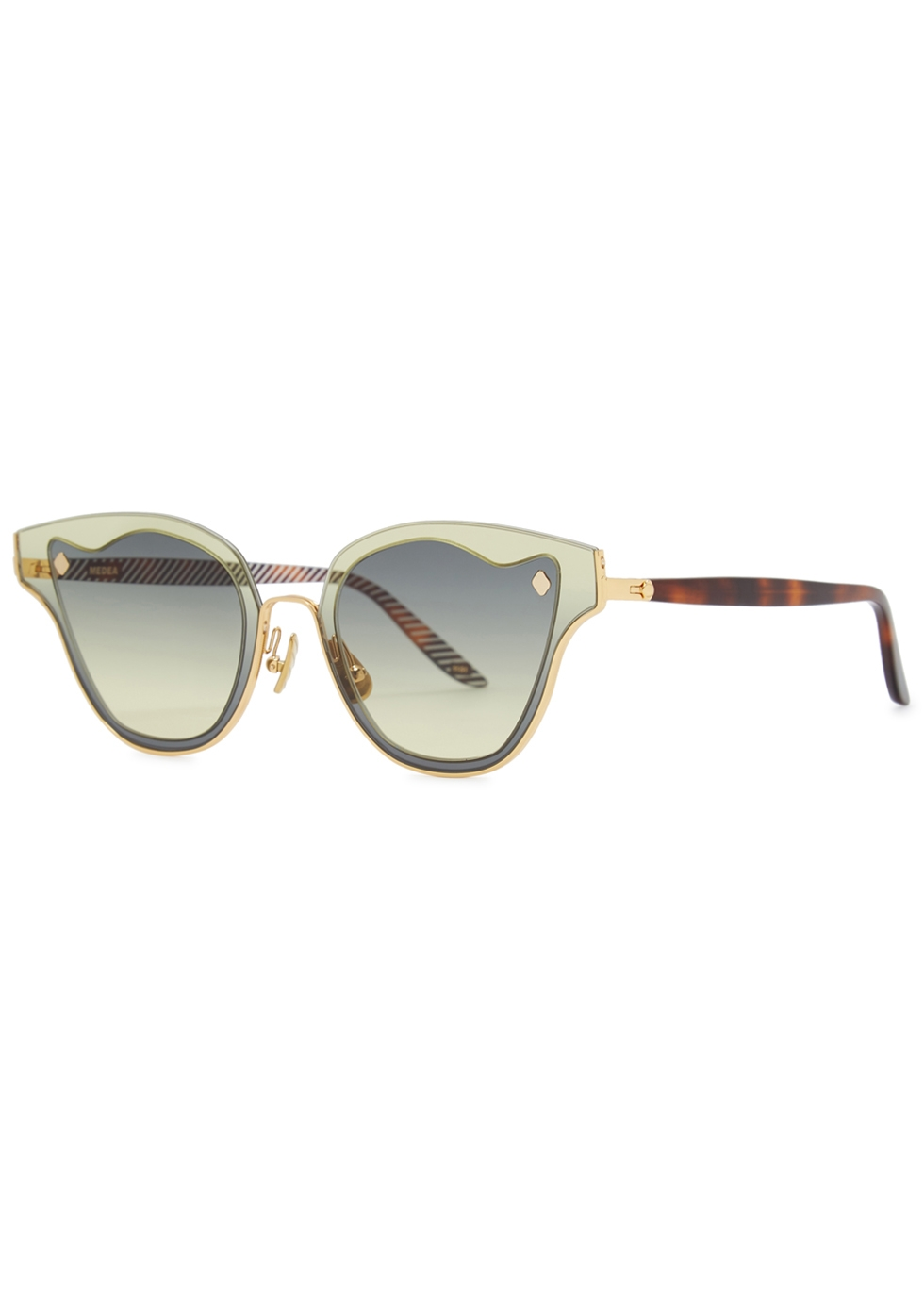 MOY ATELIER Medea 18Ct Gold-Plated Sunglasses in Green