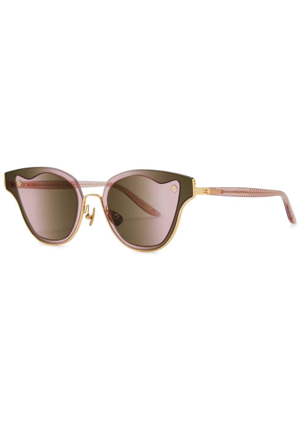 MOY ATELIER Medea 18Ct Gold-Plated Sunglasses in Pink