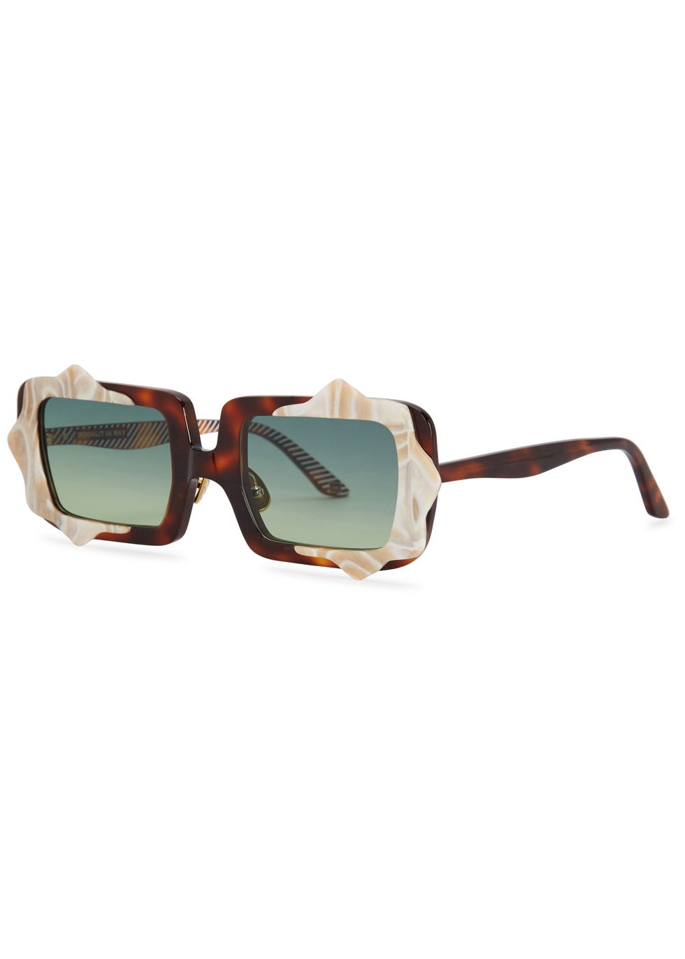 MOY ATELIER Moonlit In May Square-Frame Sunglasses in Tortoise