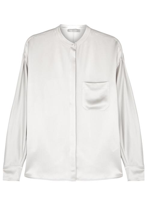 9a038fdad8e072 Vince Silver silk satin blouse - Harvey Nichols
