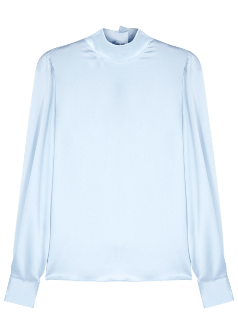 cc7cd359fd2bb Vince Light blue high-neck silk blouse - Harvey Nichols
