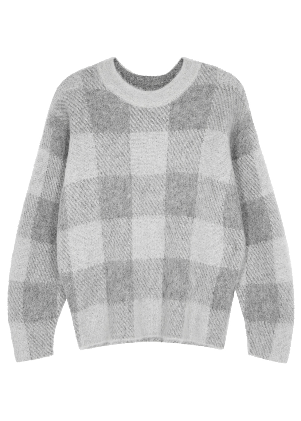 Grey checked alpaca-blend jumper - Vince