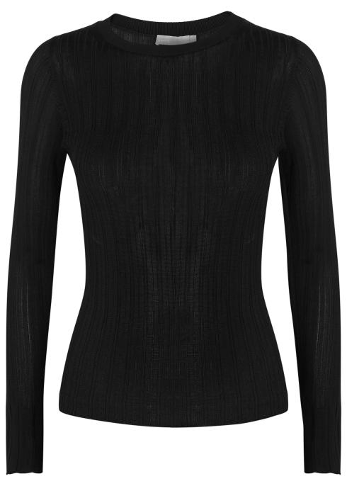 453893efefafd Vince Black fine-knit jersey jumper - Harvey Nichols
