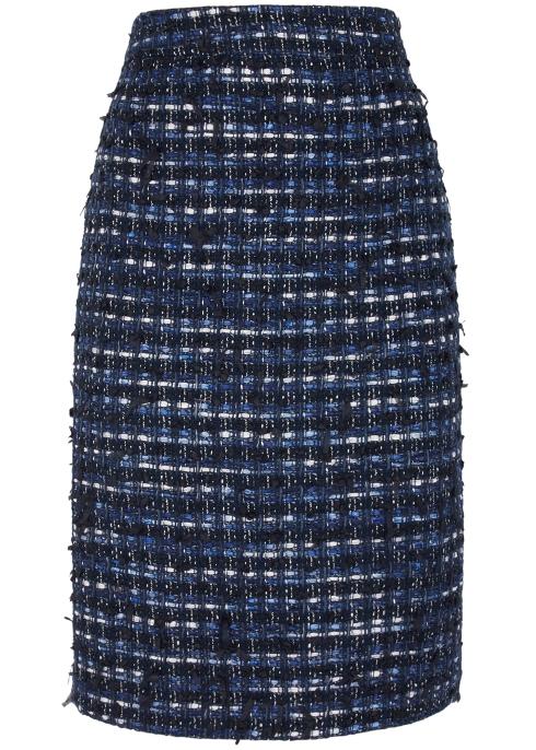 2d6d20bdcb Boutique Moschino Dark blue tweed pencil skirt - Harvey Nichols