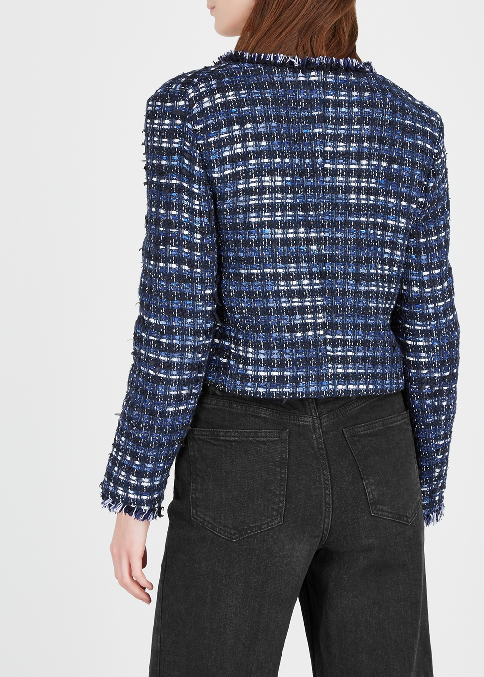 Navy cropped tweed jacket - Boutique Moschino