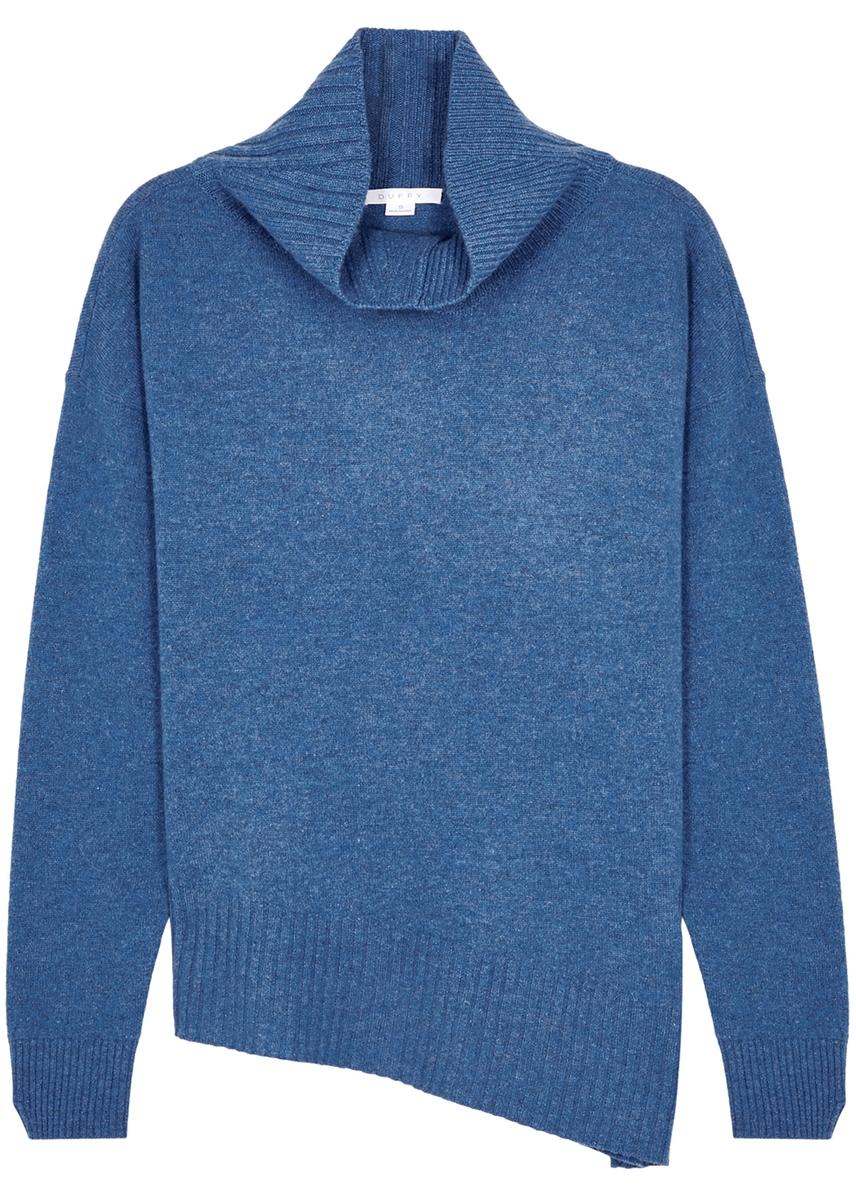 b9fcfa89a1e Blue roll-neck cashmere jumper ...